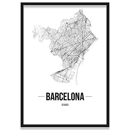 JUNIWORDS Stadtposter, Barcelona, Wähle eine Größe, 21 x 30 cm, Poster mit Rahmen, Schrift B, Weiß