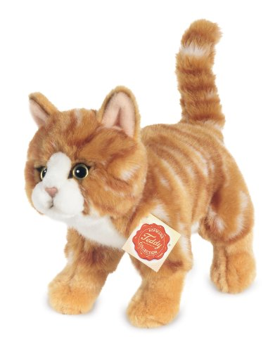 Hermann Teddy Collection 906827 - Plüsch-Katze stehend, 20 cm, rot getigert