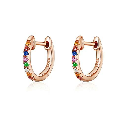Qings Pendientes de micro aro de circonita de oro rosa Los pendientes simples y brillantes en plata de ley 925 como Regalos para mujeres y niñas