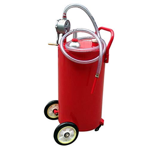 TECHTONGDA 30/35 Gallon Gas Caddy Storage Drum Autos Fuel Transfer Tank with Rotary Pump Hose (35 Gallon)