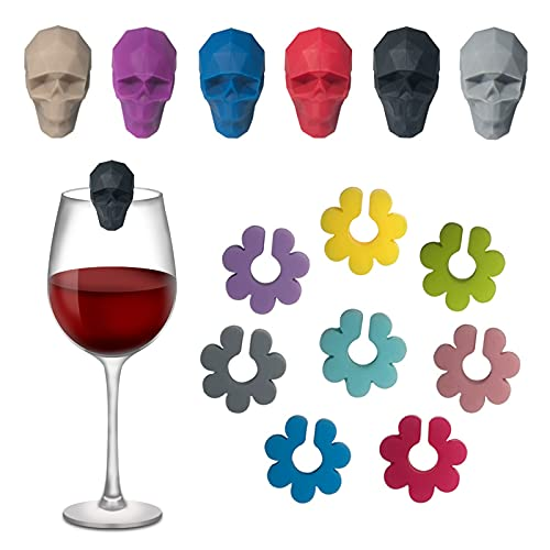 Keleily Marcador de copa de vino,14Piezas marcadores de bebida Reconocimiento copas vino marcadores silicona para cristal flores reutilizables marcadores con forma de calavera para vaso de whi