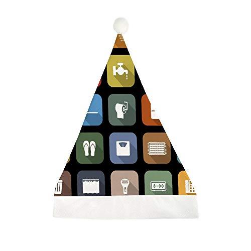 Mesllings Badkamer Platte Pictogrammen met Lange Schaduw Gedrukt Kerstmis Grappige Feesthoed Holiday Hoeden Santa Hat Geschenken voor Unisex Volwassenen 50x35cm