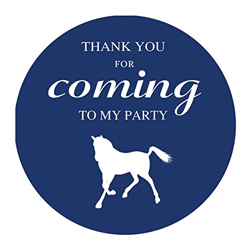 MAGJUCHE Blue Horse Thank You Stickers, Farm Animal, Boy Birthday or Baby Shower Party Supply Labels, 2 Inch, 40-Pack