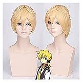 Pelucas Vocaloid Kagamine Len Cosplay peluca para hombre, corta recta rubia resistente al calor, peluca sintética con cola de caballo Anime Pl-014 (color: PL014) (color: Pl014)