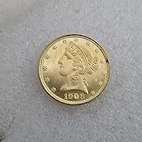 絶妙なコインアンティーク工芸品アメリカン1908ゴールドコインシルバーダラーシルバーラウンド外国貿易コレクション