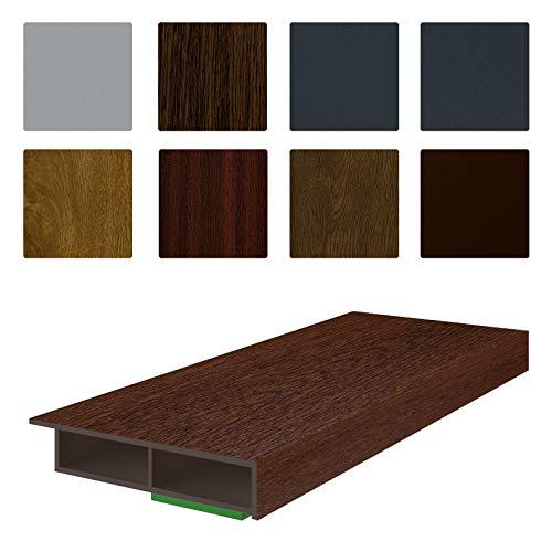 NOBILY *** Fenster/PVC Deckleiste Flachleiste Fensterleiste 50mm Breite x 7mm Höhe mit Überstand für Wandabschluss inkl. Schaumklebeband farbig - Länge 1950mm (5,08€ /m) - Farbe Nussbaum