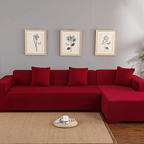 Funda de sofá esquinera elástica con chaise longue de 3 + 2 plazas, funda de sofá con chaise longue a la izquierda/derecha de poliéster, fácil de limpiar, con forma de lino (vino rojo)
