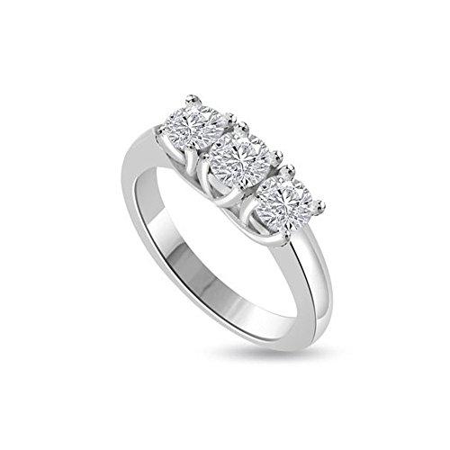 0.30ct F/VS1 Diamante Trilogy Anello da Donna con Rotonda Brillante diamanti in 18kt Oro bianco