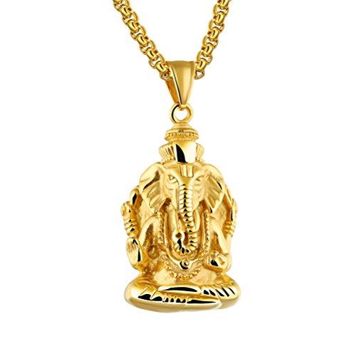 PAURO Herren Edelstahl Vergoldet Ganesha Elefanten Gott des Erfolgs Glückliche Anhänger Halskette Vintage