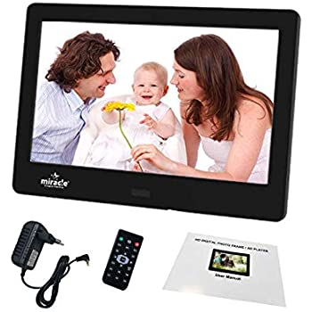 Leoie 12 Inch 1080P HD Digital Photo Frame with Remote Control Support 32G SD and USB for Pictures and Videos White AU Plug