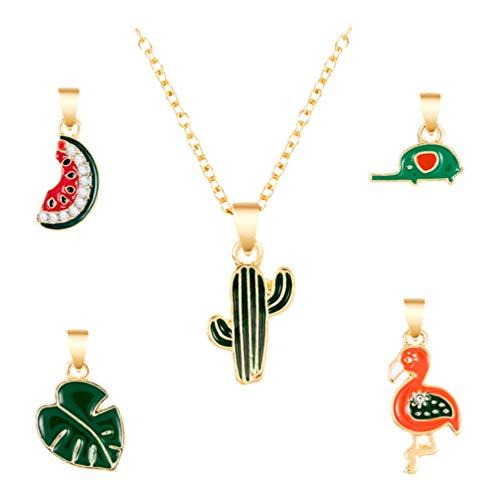 Holibanna Emaille Anhänger Halsketten Frucht Tier Anhänger Mädchen Schlüsselbein Kette mit austauschbaren Anhängern Weihnachtsschmuck Geschenk 5St