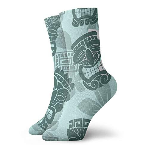 HOKZONB Casual Crew Socken Tiki Party – Aqua Knöchelsocken kurz Kleid Kompressionssocken für Damen Herren 30 cm