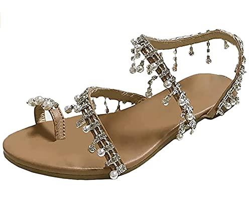 SKYWPOJU Damskie sandały z dekoracją kwiatową mieszkania letnie buty wsuwane damskie letnie kwiaty Strappy płaskie klapki rzymskie sandały plażowe z odkrytymi palcami