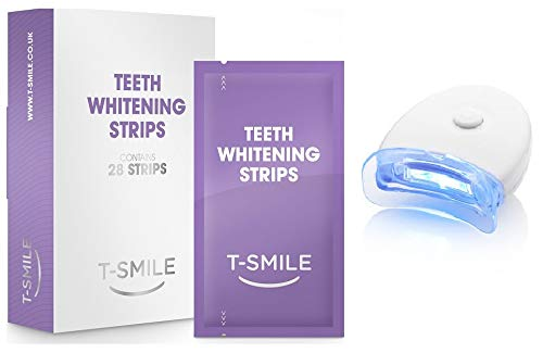 T Smile 28 Professional Home Teeth Whitening Strips Bleaching Whiter White-Strips Fast-Acting Teeth Whitening Kit Formulated by UK Dentists Zero Peroxide - Fluoride Free