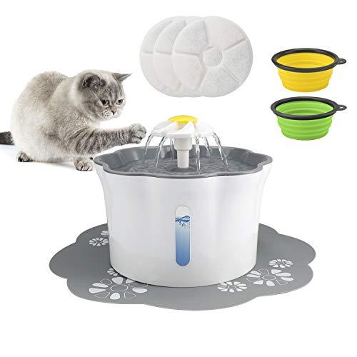 Omasi Katzen Trinkbrunnen,Wasserbrunnen Wasserspender für Katzen mit 2 Hund klappbar Fressnapf,Automatische Cat Water Fountain mit 3 Stück Hygienefilter,Trinkbrunnen für Haustiere mit LED-Licht(2.6L)