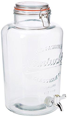 NERTHUS FIH 099 - Dispensador 8 litros, dispensador de bebidas de vidrio con grifo, Cristal, 30.26 cm