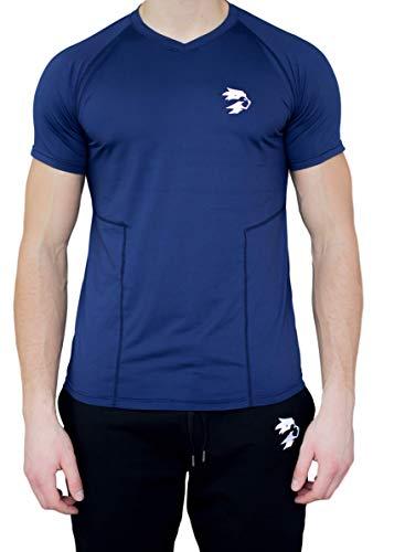 ONELION® Premium Funktionelle Sport Bekleidung Fitness Sport Gym Freizeit T-Shirt, im coolen Slim-Fit Look, Shirt bequem & hochwertig, V-Neck & Tailliert (S) - KOSTENFREIER BLITZVERSAND