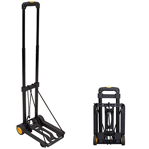 Mount-It! Folding Luggage Cart and Dolly | 77 Lb Capacity | Portable Lightweight Luggage Trolley Cart with Telescoping Handle and 4 Rubber Wheels | Steel Frame