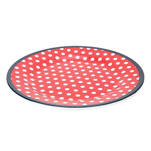 Candeon Plato Plato Vajilla · Plato de Forma Redonda de 22 mm Plato Resistente a la Temperatura Vajilla para el hogar Restaurante Hotel Cocina(红色格子)