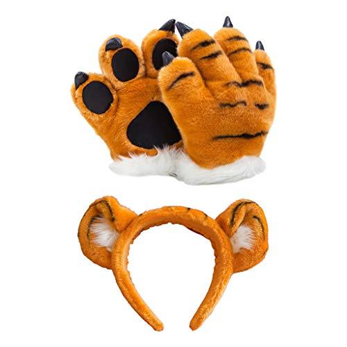 Disfraz de leopardo de peluche para cosplay, diadema con orejas 3D, manoplas para fiestas