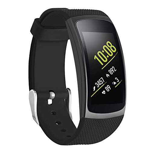 Isabake for Gear Fit 2 Correa/Gear Fit 2 Pro Correa, Correa de Reloj de Silicona Suave para Samsung SM-R365 Band/SM-R365 Watch Band (Negro)
