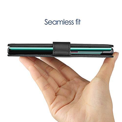 Simpeak Hülle Kompatibel mit Huawei Mate 30 Pro [6,53'' Zoll], Handyhülle Kompatibel für Mate 30 Pro Leder Flipcase [Kartensteckplätze] [Stand Feature] [Magnetic Closure Snap] - Schwarz - 6