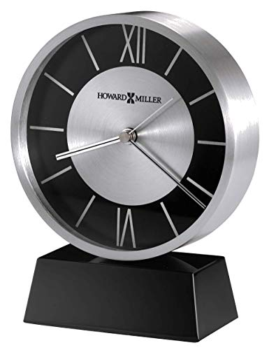 Howard Miller Davis Table Clock 645-787 – Black Aluminum Metal Home Decor and Crystal with Quartz Movement