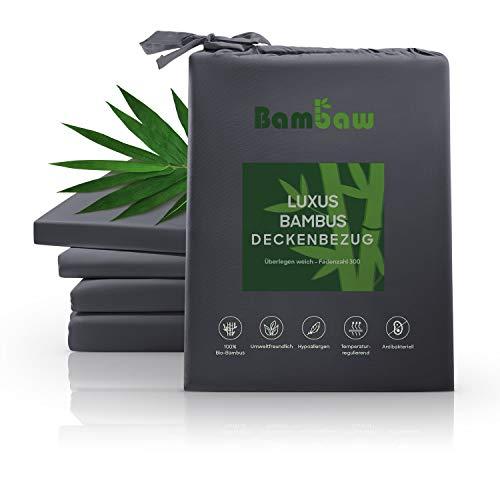 Bambaw Deckenbezug aus Bambus | Luxus Bettwäsche Bambus | Allergiker Deckenbezug | Atmungsaktive bettwäsche | Anti Milben Deckenbezug | Anthrazit | 135x200