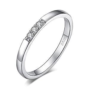 JewelryPalace 3 Piedra Anillos Mujer Plata Diamante Simulado, Anillos de Compromiso Plata de ley 925 Mujer Chapado en… | DeHippies.com