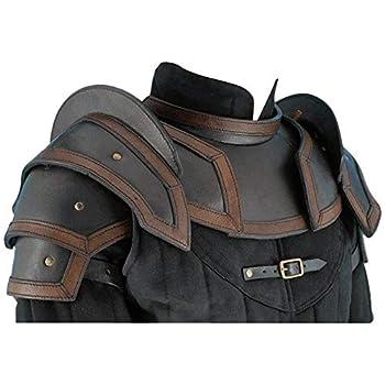 NauticalMart Armor Leather Shoulder Armor Pauldrons with Neck Guard Gorget  Black Large