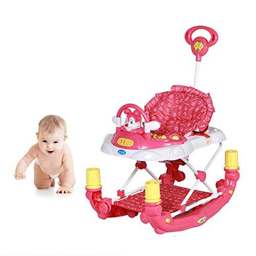 KAILUN Girelli per Bambini Primi Passi Multi-Funzionale Baby Go Round Walker, Toddler Music Walker Pieghevole con Vassoio di Alimentazione,Rosa