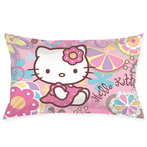 KHTRRY Japanese Cartoon Anime Hello Kitty Pillowcase (20X30in), Soft Solid Cushion Cover for Home Decoration, Sofa and Chair, Car Decoration, Office