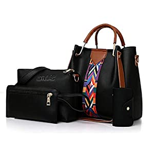 Envias Leatherette Latest Handbags For Women's Ladies Combo Of 4 (Black_PrintStrip_EVS-119-2)
