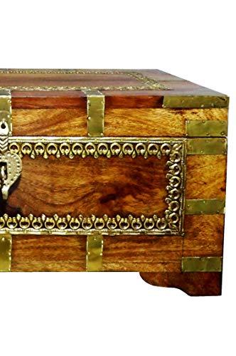 Orientalische Truhe Kiste aus Holz Kanjana Braun | Vintage Sitzbank mit Aufbewahrung für den Flur | Aufbewahrungsbox mit Deckel im Bad | Betttruhe als Kissenbox oder Deko im Schlafzimmer - 2