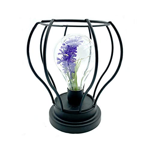 Flushbay Table Lamp Metal Shade Metal Cage Cordless Table Lamp Battery Powered Vintage Creative Pumpkin Shaped Night Light LED Edsion Style Bulb with Artificial Lavender Inside Warm White Light