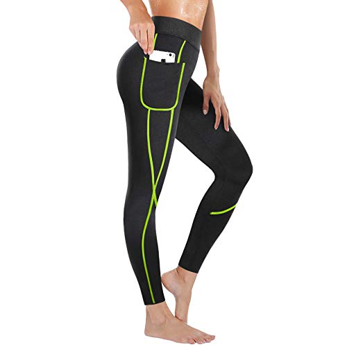 Rolewpy Women Neoprene Sauna Slimming Pants Weight Loss Hot Thermo Sweat Body Shaper Capri for Fat Burner Leggings (Green Line, Large (US 12))