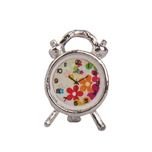 Réveil en Métal Miniature Décor pour 1:12 Maison de Poupée - d'Argent