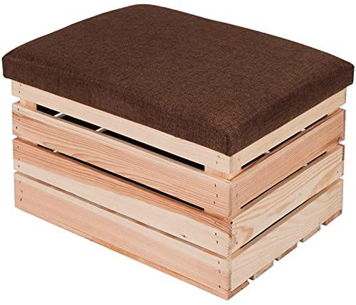 LAUBLUST Sitzhocker mit Stauraum - ca. 50x40x30cm, Natur - Polster Braun | Hocker aus Holz - Sitzbank für Drinnen & Draußen | Aufbewahrungshocker mit Deckel | Sitzpouf & Fußhocker
