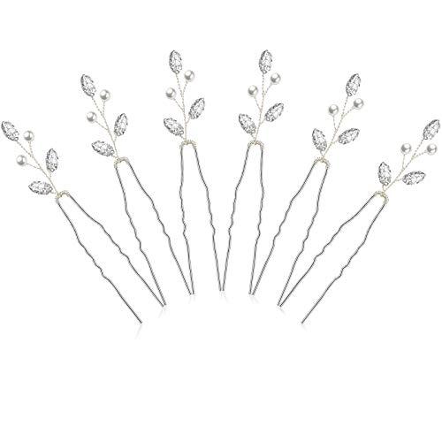 6 Pieces Bridal Hair Pins Pearl Crystal Hair Accessory Vintage Wedding Party Hair Pins for Bride,...