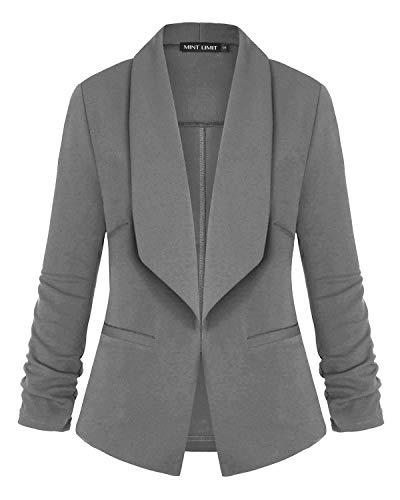 MINTLIMIT Damen Einfarbig Strecken Lange Ärmels Vorne Offen Blazer Jacke(Grau,Größe S)