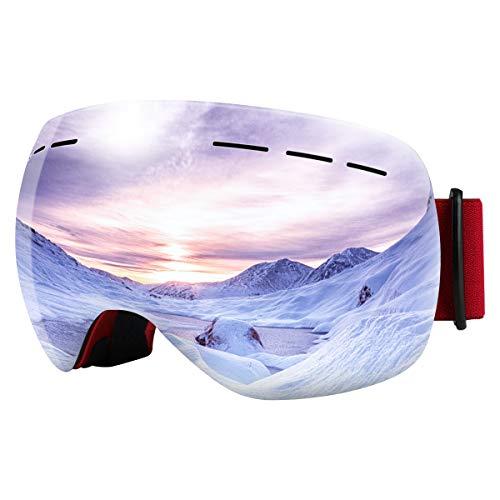 Bfull Skibrille Für Damen und Herren Kids Brillenträger Skibrille 100{ca8405a45b39ad6ec2eb16d7699417949858f43d01ceb656716ee1bb5e679ba8} OTG UV400 Anti-Fog UV-Schutz Skibrillen Snowboard Skibrille Schutz Ski Goggles (red Frame-Silver Lens VLT 9.5{ca8405a45b39ad6ec2eb16d7699417949858f43d01ceb656716ee1bb5e679ba8})