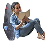 Reading & Bed Rest Pillow with Support Arms/Pockets/Low Rebound Memory Foam, Portable Backrest Cushion for Adults Reading/Watching TV/Sitting up in Bed, with Washable Soft Velor Cover (Gray)