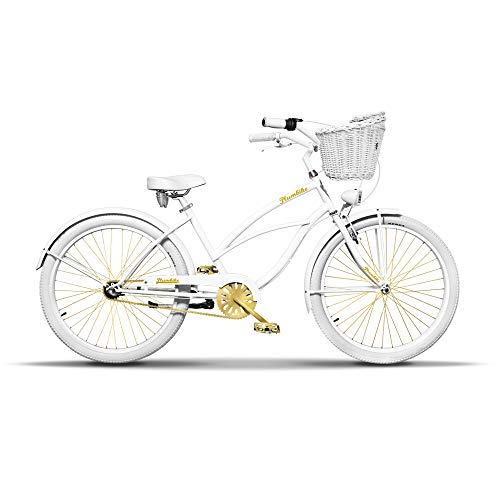 Plumbike Vélo Femme 26' Velo Adulte Femme Dame Vintage Retro Beach Cruiser Vélo De Confort Bici...