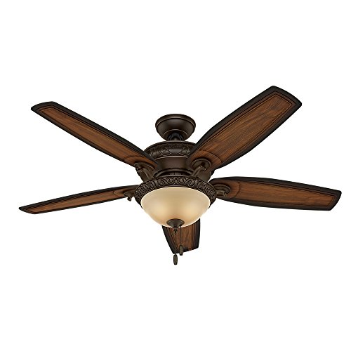 Hunter Fan Company 54014 Downrod Mount, 5 Burnished Elder Carved Wood Blades Ceiling fan with 81 watts light, Brown