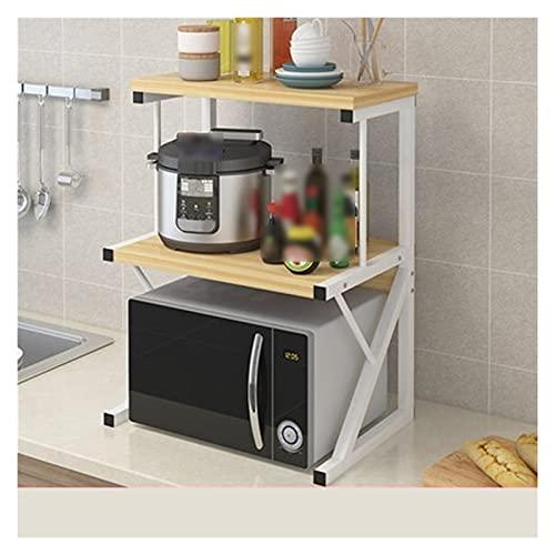 Dongyd Rack de panadería de 3 niveles para la cocina Horno de microondas Soporte de rejilla Armario de cocina y mostrador Organizador de estante de almacenamiento, Rack de condimentos, Madera, 8 color
