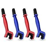 Fulushou 4 Piezas Cepillo de Limpieza de Cadenas Cepillo de Cadena, Profesional Cepillo Limpiador de Cadenas para Bicicleta y Moto, Azul & Rojo