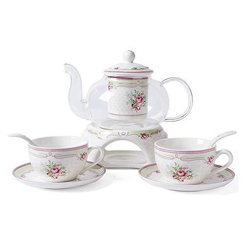 6 Stück Europäischen Blumen Tee Set, Rose Muster Bone China Tee Set Service Kaffee Set, Beheizte Glas Teekanne, Für Geschenk Und Haushalt, Hochzeit