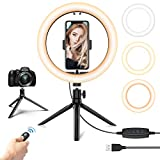 10.2'' LED Selfie Ring Light with Tripod Stand & Phone Holder - Dimmable Desk Makeup Ring Light with 3 Light Modes for Photography/Shooting/Live Streaming/YouTube Video, Compatible with iPhone Android