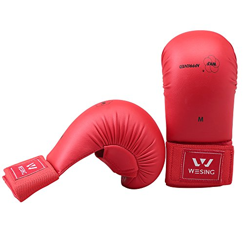 Wesing WKF Sparring Karate Handschuhe mit Daumenschutz Blau Rot