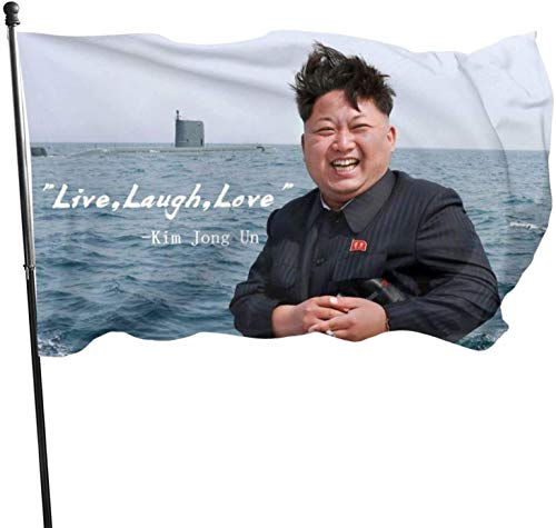 Kim Jong Un Flag Live Laugh Love Quote Banner Outdoor Sign or Room College Dorm Decor Indoor Bedroom Sign Heavy Wind Tapestry 3x5 Ft